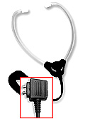 Hinged stetho headset with white plastic ear tips and Dictaphone plug